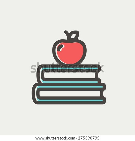 Three books with apple on the top icon thin line for web and mobile, modern minimalistic flat design. Vector icon with dark grey outline and offset colour on light grey background. - stock vector