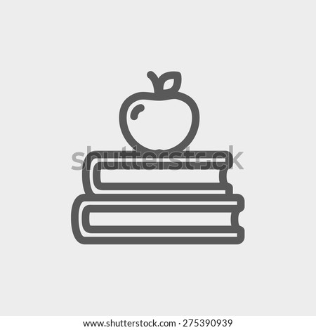 Three books with apple on the top icon thin line for web and mobile, modern minimalistic flat design. Vector dark grey icon on light grey background. - stock vector