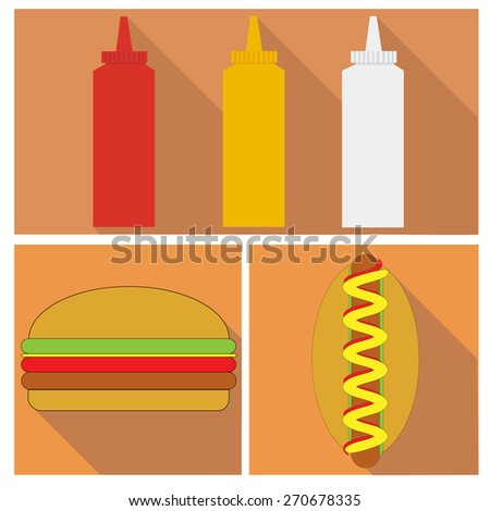 three bottles of mayonnaise, ketchup and mustard. hamburger and hot dog. flat design - stock vector