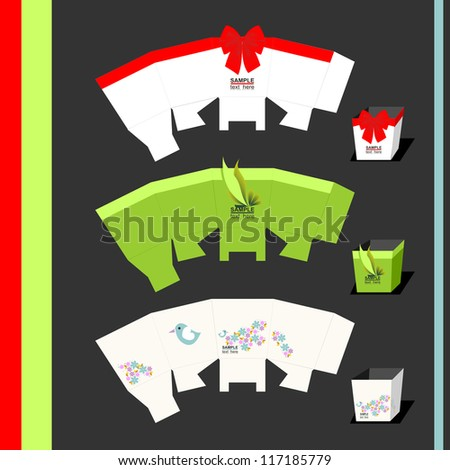 Three box with design - stock vector