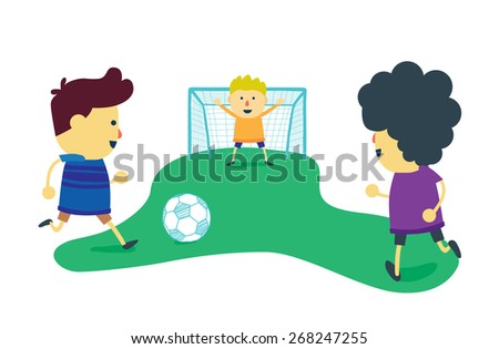 Three boy friends is enjoy with play football on soccer field - stock vector