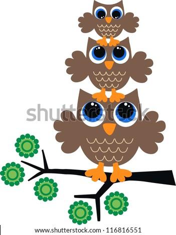 three brow owls - stock vector