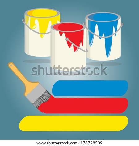 Three buckets of paint  and paint brush with yellow, red and blue paint, Vector illustration.