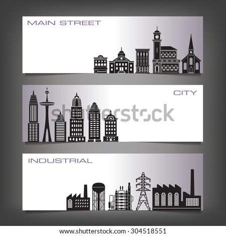 Three Building Banners with Space for Type - stock vector
