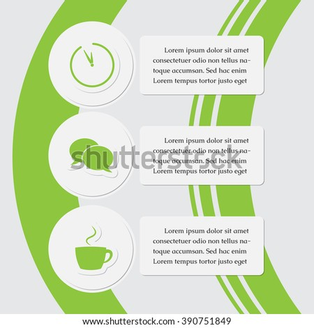 three business and media info graphic - icons with text, green, white design templates - stock vector