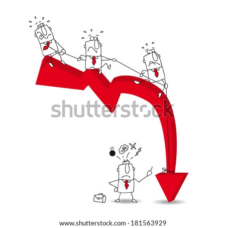 three businessmen are trying to pull a rope to straighten an arrow. It's a metaphor of the bad results and economic crisis  - stock vector