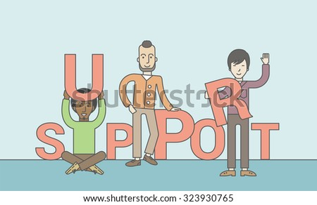 Three businessmen holding letters that make up word of support. Teamwork concept. Vector line design illustration. Horizontal layout with a text space. - stock vector