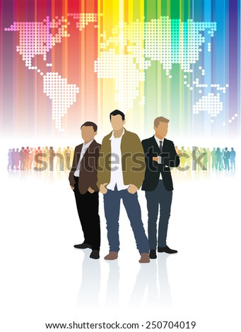 Three businessmen standing in front of colorful crowd of people and word map. - stock vector