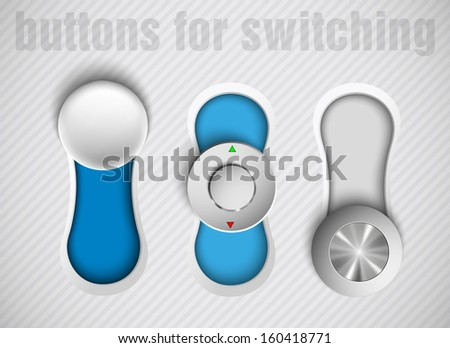 three buttons switch blue and gray - stock vector
