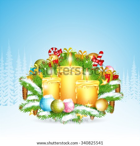 Three candles stand on snowy fir tree branches with presents. Christmas glossy element on forest landscape background - stock vector