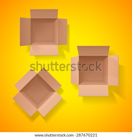 Three cardboard boxes. Cardboard box. Set of cardboard boxes. Top view. Open box on a orange background. Detailed object. Vector Image. - stock vector