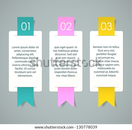 Three cards with numbers and sample text for a cool presentation. EPS10 vector. - stock vector
