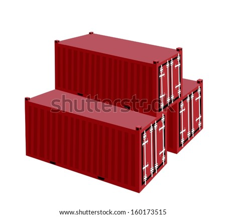 Three Cargo Containers or Freight Containers for Portable Storage, Overseas Shipping or Mobile Office.