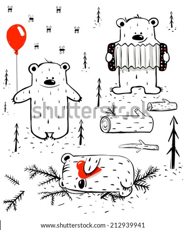 Three Cartoon Bears Sleeping and Playing. Baby animals for children in black lines. Vector EPS8 illustration. - stock vector