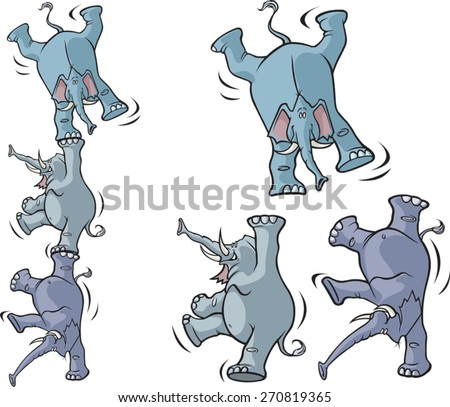 Three cartoon elephants on separate layers. You can stack the elephants, (as shown on the left), or use them individually. Layered vector file available. - stock vector