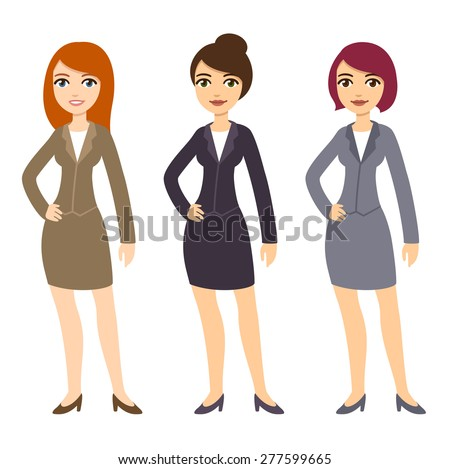 Three cartoon young businesswomen in formal clothes of various colors and with different hairstyles. Isolated on white background. - stock vector