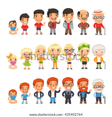 three characters generations different ages man stock vector 435902764 shutterstock. Black Bedroom Furniture Sets. Home Design Ideas