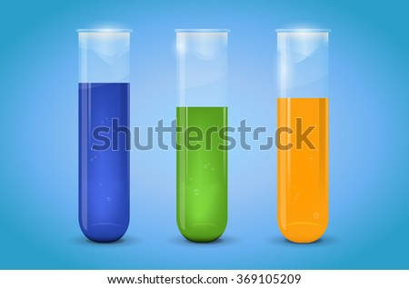 Three chemical test-tubes with liquid on blue background - vector illustration - stock vector