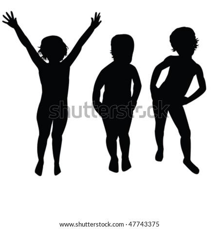 Three children silhouettes - stock vector