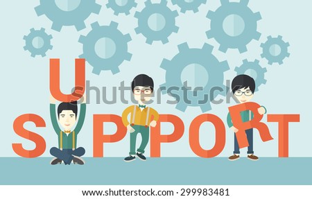 Three chinese businessmen holding a letter, it is a support message they need help from others. Teamwork concept. A contemporary style with pastel palette soft blue tinted background. Vector flat - stock vector