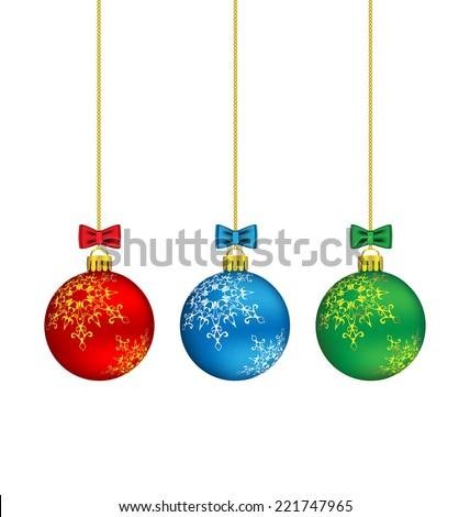 Three christmas balls with bows hang on the chain - stock vector