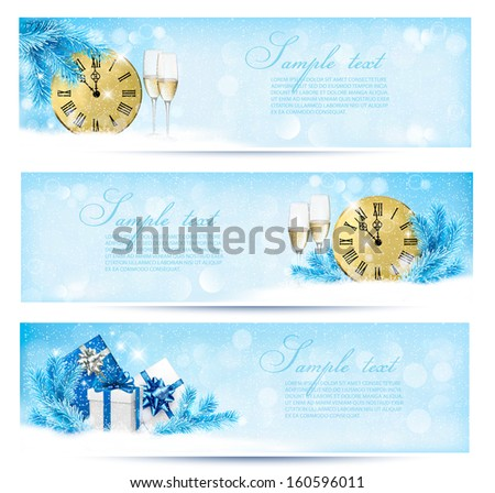 Three christmas banners with gift boxes and snowflake. Vector illustration.  - stock vector
