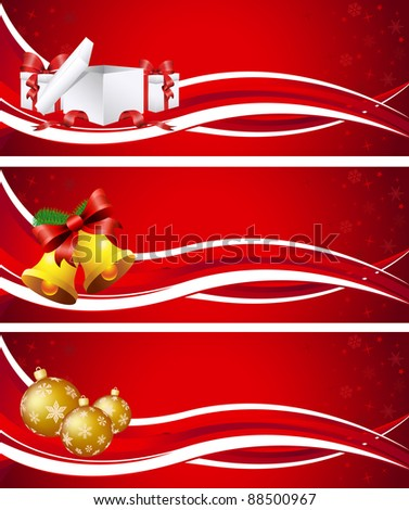 Three Christmas banners with gifts, bells, baubles - stock vector
