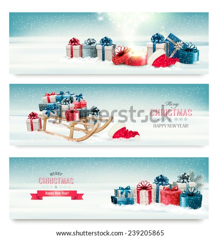 Three Christmas banners with presents and a sleigh. Vector.  - stock vector
