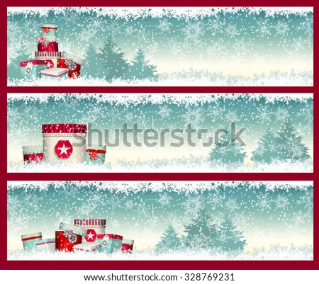 three christmas banners with presents with winter landscape in background, vector illustration, eps 10 with transparency and gradient meshes - stock vector