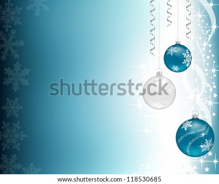 Three Christmas baubles hanging, on a shiny blue background - stock vector