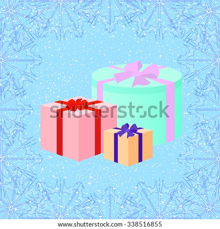 Three Christmas gift boxes on the snow background. Decorative frame with snowflakes pattern. Art vector illustration in retro style for your Christmas and New Year design. EPS10