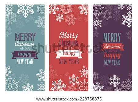 Three Christmas greetings cards for web or print. - stock vector