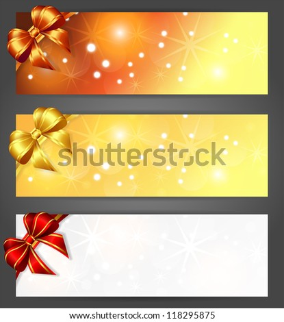 three christmas horizontal banners , vector illustration, contains gradients and transparency, eps10