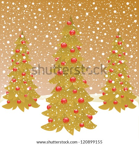 three christmas tree on winter background - stock vector