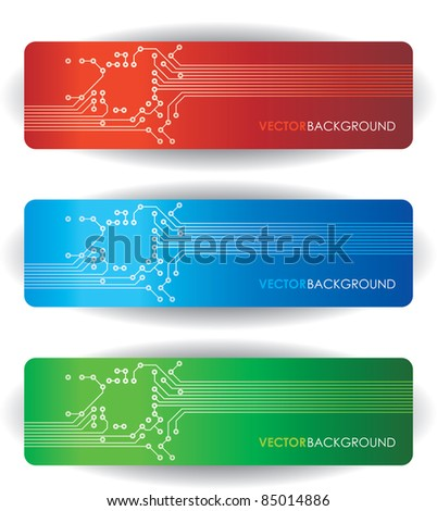 three circuit board banner - stock vector
