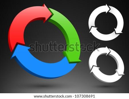 Three circular arrows 3D logos. - stock vector