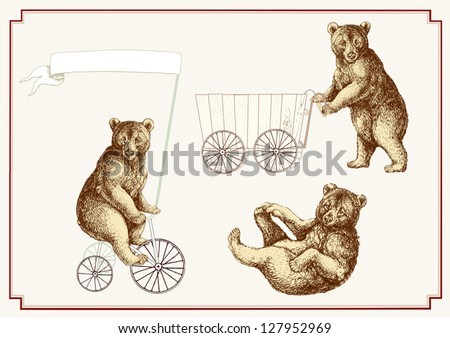 Three circus bears - stock vector