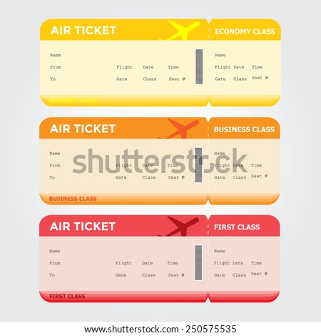 Three classes of blank flight boarding pass vector illustrations. - stock vector