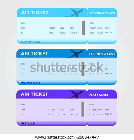 Three classes of blank flight boarding pass. Vector illustrations. - stock vector