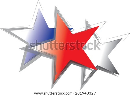 Three close up stars in red, white and blue colors for the holiday. Vector format. - stock vector