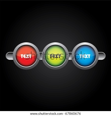 Three color buttons for your website or something else - stock vector