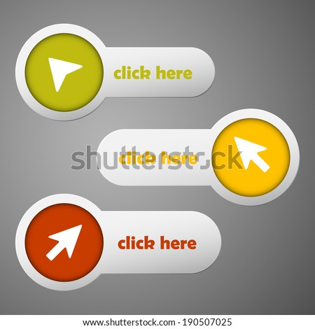Three color circle and strip labels collection with arrows and text click here ready to edit. Vector illustration.