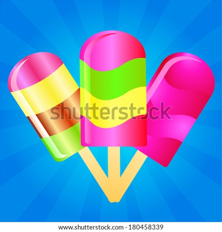 three color Ice cream lollies on the blue phone with rays - stock vector