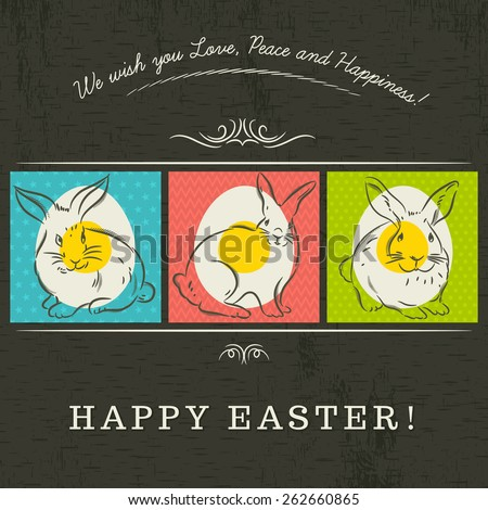 Three colored Easter eggs painted with three rabbits. Brown blackboard and inscription with text Happy Easter.Decorative element in Eastern style. - stock vector