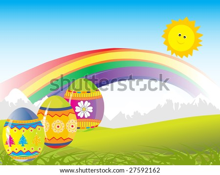 three colored eggs with nature background