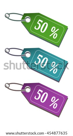 Three colored isolated tags with the text fifty percent written on each tag - stock vector