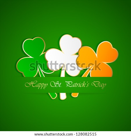 Three-colored leaves of a clover on green background illustration. - stock vector