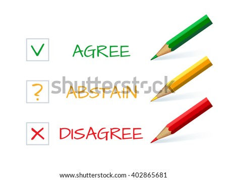 Three colored pencil with a green check mark symbol, yellow question mark and red cross - stock vector