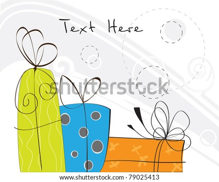 Three Colorful Gifts - stock vector