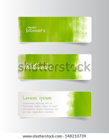 Three colorful green watercolor hand painted vector banners - stock vector